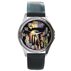 Street Colorful Abstract People Round Metal Watch