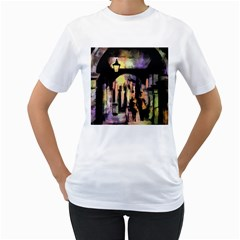 Street Colorful Abstract People Women s T Shirt (white) (two Sided)