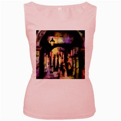 Street Colorful Abstract People Women s Pink Tank Top