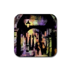 Street Colorful Abstract People Rubber Coaster (square)