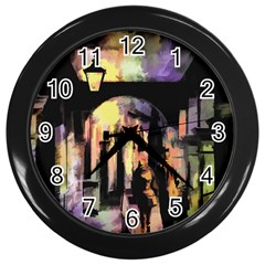 Street Colorful Abstract People Wall Clocks (black)