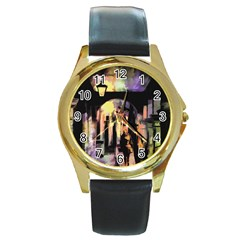 Street Colorful Abstract People Round Gold Metal Watch