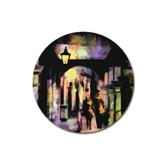 Street Colorful Abstract People Magnet 3  (round)
