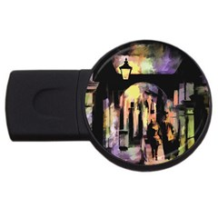 Street Colorful Abstract People Usb Flash Drive Round (2 Gb)