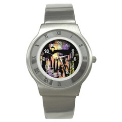 Street Colorful Abstract People Stainless Steel Watch