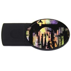 Street Colorful Abstract People Usb Flash Drive Oval (4 Gb)