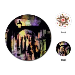 Street Colorful Abstract People Playing Cards (round)