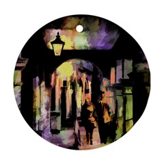 Street Colorful Abstract People Round Ornament (two Sides)