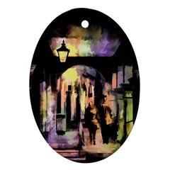 Street Colorful Abstract People Oval Ornament (two Sides)