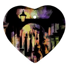 Street Colorful Abstract People Heart Ornament (two Sides)