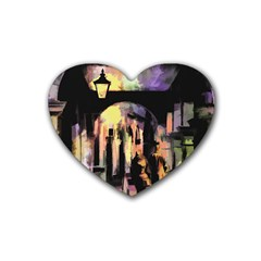 Street Colorful Abstract People Rubber Coaster (Heart)