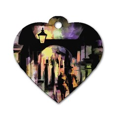 Street Colorful Abstract People Dog Tag Heart (two Sides)