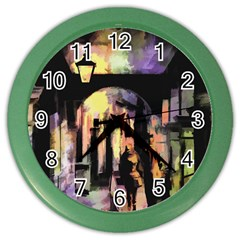 Street Colorful Abstract People Color Wall Clocks