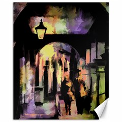 Street Colorful Abstract People Canvas 11  X 14