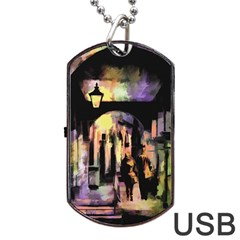 Street Colorful Abstract People Dog Tag Usb Flash (two Sides)