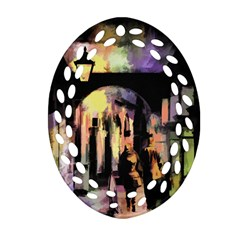 Street Colorful Abstract People Ornament (oval Filigree)