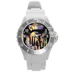 Street Colorful Abstract People Round Plastic Sport Watch (l)