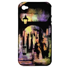 Street Colorful Abstract People Apple Iphone 4/4s Hardshell Case (pc+silicone)