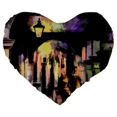 Street Colorful Abstract People Large 19  Premium Heart Shape Cushions