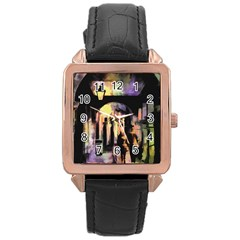 Street Colorful Abstract People Rose Gold Leather Watch