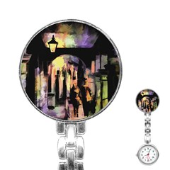 Street Colorful Abstract People Stainless Steel Nurses Watch