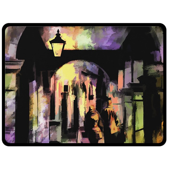 Street Colorful Abstract People Double Sided Fleece Blanket (Large)