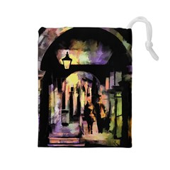 Street Colorful Abstract People Drawstring Pouches (large)