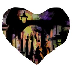 Street Colorful Abstract People Large 19  Premium Flano Heart Shape Cushions