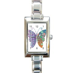 Vintage Style Floral Butterfly Rectangle Italian Charm Watch