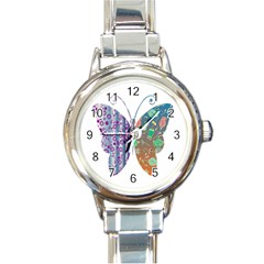 Vintage Style Floral Butterfly Round Italian Charm Watch