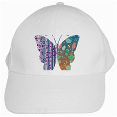 Vintage Style Floral Butterfly White Cap