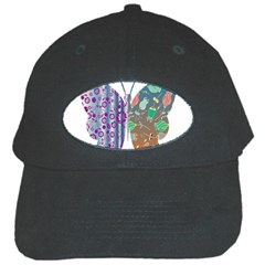 Vintage Style Floral Butterfly Black Cap