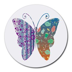 Vintage Style Floral Butterfly Round Mousepads