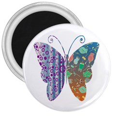 Vintage Style Floral Butterfly 3  Magnets