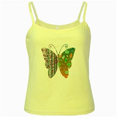 Vintage Style Floral Butterfly Yellow Spaghetti Tank