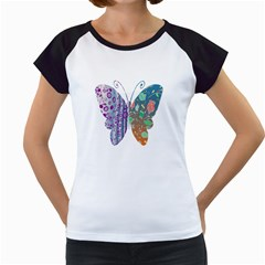 Vintage Style Floral Butterfly Women s Cap Sleeve T