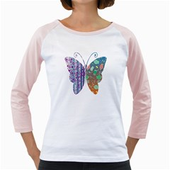 Vintage Style Floral Butterfly Girly Raglans