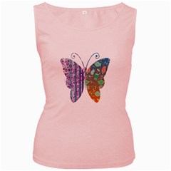 Vintage Style Floral Butterfly Women s Pink Tank Top