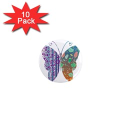 Vintage Style Floral Butterfly 1  Mini Magnet (10 Pack)