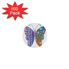 Vintage Style Floral Butterfly 1  Mini Buttons (100 Pack)