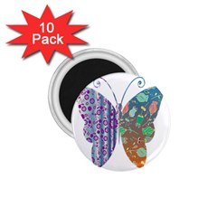 Vintage Style Floral Butterfly 1 75  Magnets (10 Pack)