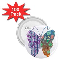 Vintage Style Floral Butterfly 1 75  Buttons (100 Pack)