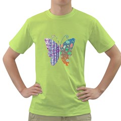 Vintage Style Floral Butterfly Green T Shirt