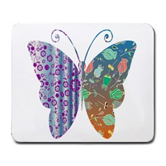 Vintage Style Floral Butterfly Large Mousepads
