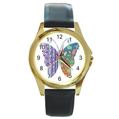 Vintage Style Floral Butterfly Round Gold Metal Watch