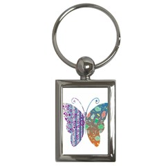 Vintage Style Floral Butterfly Key Chains (rectangle)