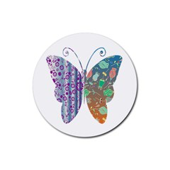 Vintage Style Floral Butterfly Rubber Round Coaster (4 Pack)