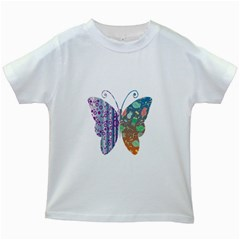 Vintage Style Floral Butterfly Kids White T Shirts