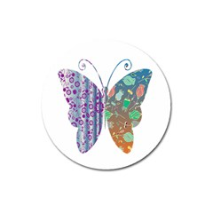 Vintage Style Floral Butterfly Magnet 3  (round)