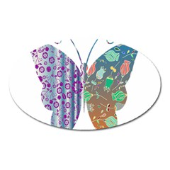 Vintage Style Floral Butterfly Oval Magnet